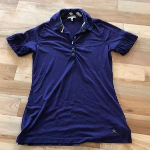 Burberry purple polo  with sleeve detail M